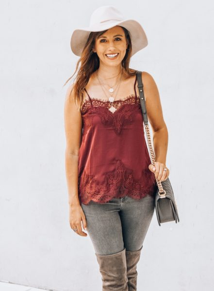 cream brixton hat with burgundy lace cami