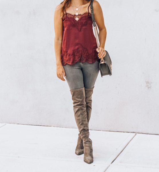 over the knee boots with burgundy lace cami