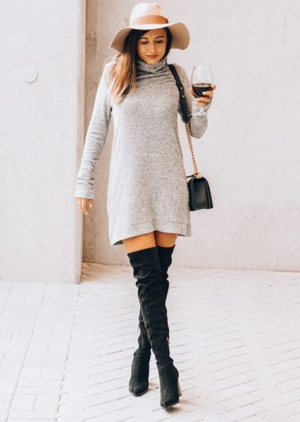 lamade grey sweater dress with black over the knee boots