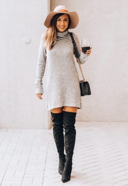 black over the knee boots with lamade grey sweater dress