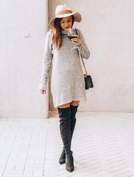 lamade grey sweater dress with black chanel boy