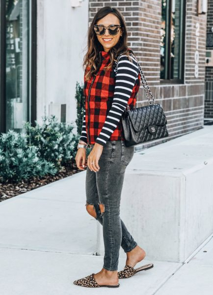 free people busted knee skinnies with pink lily plaid vest