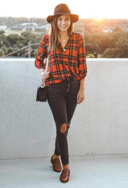 free people busted knee skinnies with pink lily plaid top