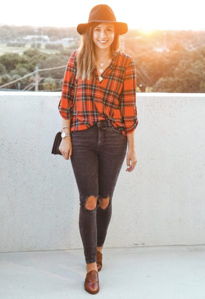 pink lily plaid top with free people busted knee skinnies