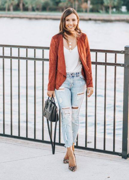 market and spruce rust jacket with ripped denim