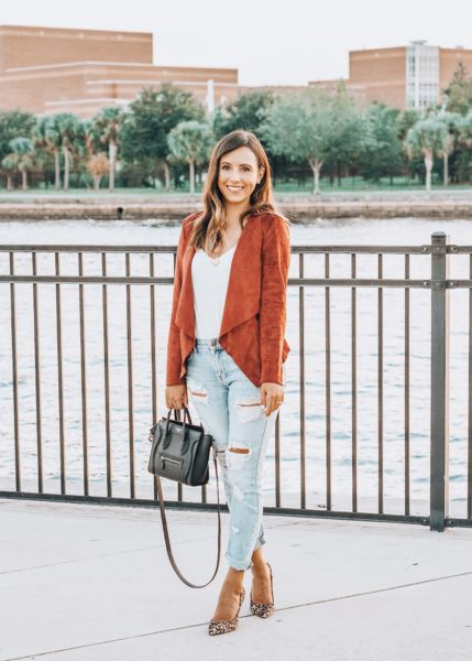 market and spruce rust jacket with sam edelman leopard pumps