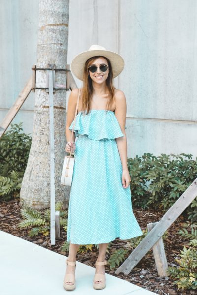 shop entourage blue polka dot dress with brixton hat