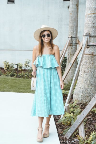 shop entourage blue polka dot dress with rayban sunglasses
