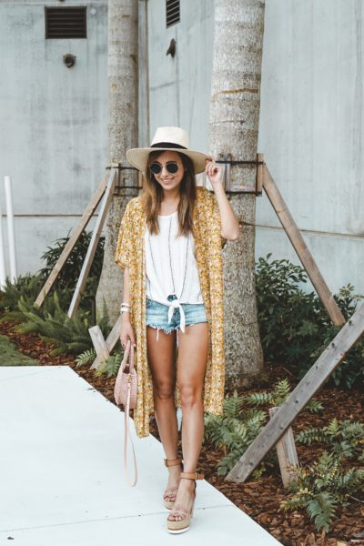 shop entourage yellow floral kimono with brixton hat