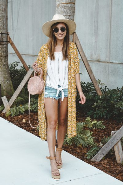 shop entourage yellow floral kimono with clare v petite alice