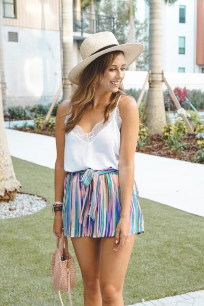 multi color tie shorts with clare v petite alice