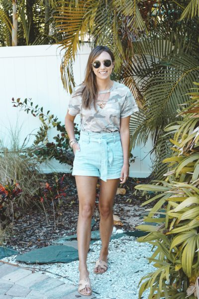 express camo tee with paper bag shorts