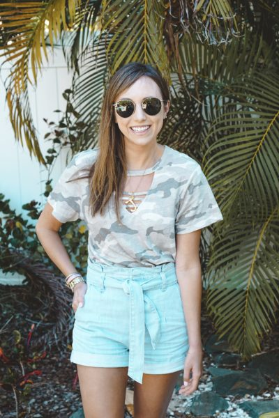 express camo tee with express paper bag shorts