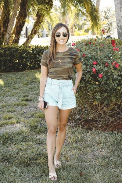 sun frog camo tee with express paper bag shorts