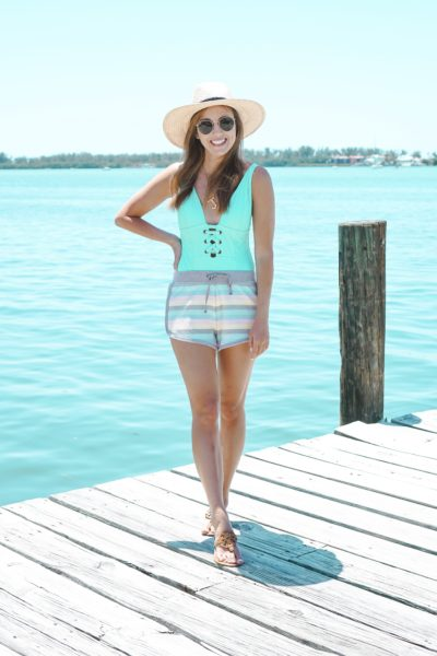 mossimo green one piece with z supply rainbow shorts