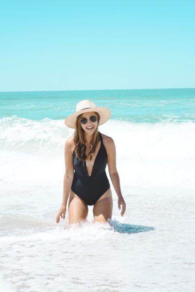 lulus black one piece suit with brixton joanna hat