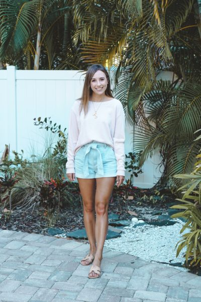 lamade blush binx pullover with express paper bag shorts