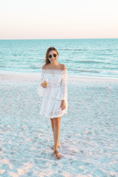 Chicwish Heal the Heart Crochet Off Shoulder Dress at beach