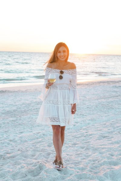 Chicwish Heal the Heart Crochet Off Shoulder Dress at anna maria island
