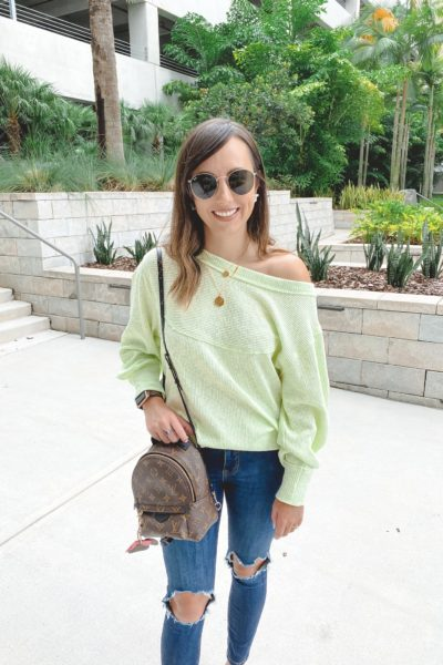free people og thermal with free people busted knee skinnies and louis vuitton palm springs mini