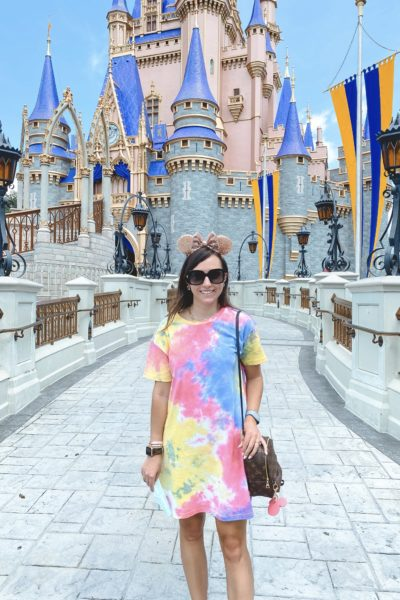 what to wear to disney in the summer shein tie dye tshirt dress with mouse ears at magical kingdom