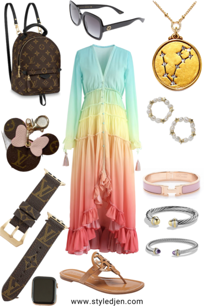 chicwish rainbow dress with gucci sunglasses and louis vuitton palm springs