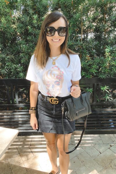 gucci skull tee with black denim skirt and gucci belt