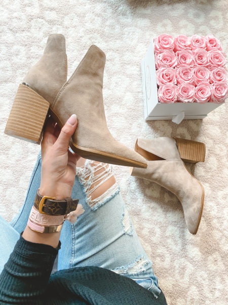 steve madden Kaylah Pointed Toe Bootie in taupe suede