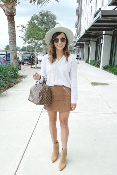 blanknyc suede mini skirt with waffle knit shirt and marc fisher booties