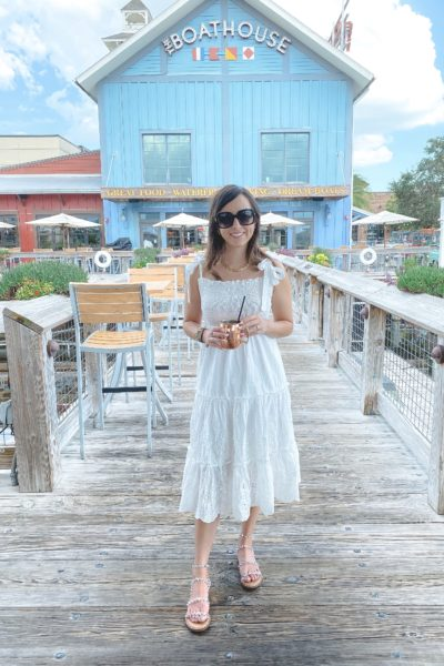 chicwish white eyelet midi dress with gucci sunglasses at boathouse orlando