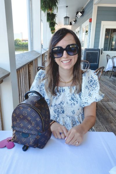 chicwish puff sleeve dress with gucci sunglasses and louis vuitton palm springs mini