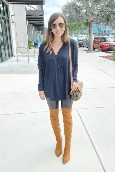 free people leo henley with spanx faux leather leggings and marc fisher over the knee boots