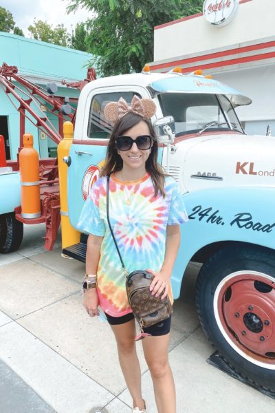 what to wear to disney in the summer shein tie dye shirt with mouse ears at hollywood studios
