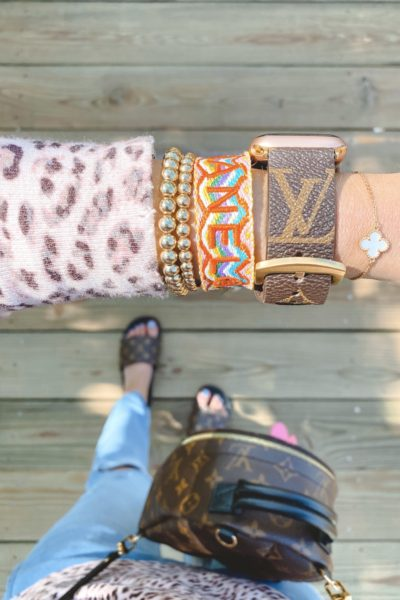 louis vuitton apple watch band with chanel bracelet and gold beaded bracelets