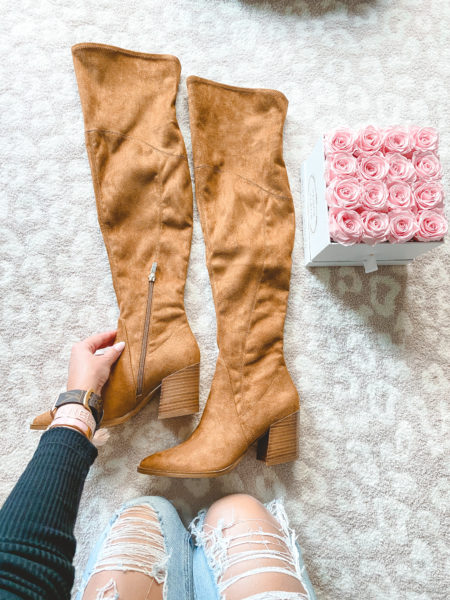 marc fisher Cathi Pointed Toe Over the Knee Boot with roses