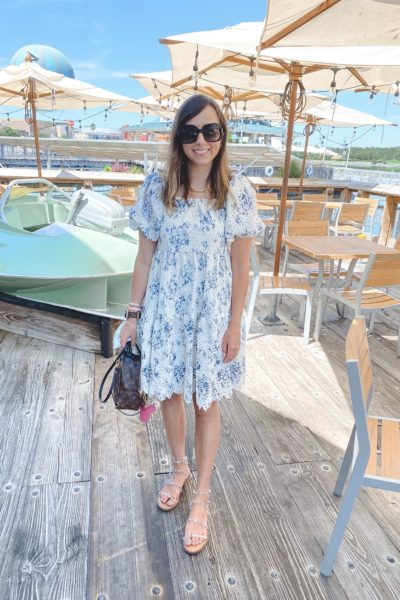 chicwish puff sleeve dress with steve madden travel sandals and louis vuitton palm springs mini