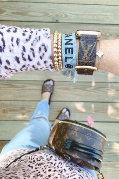 louis vuitton apple watch band with blue chanel bracelet and gold beaded bracelets