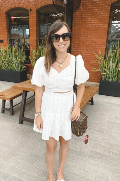 Wearing lately post 36 chicwish two piece white set with celine sunglasses and louis vuitton palm springs mini