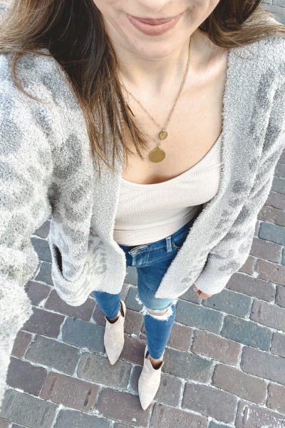 barefoot dreams grey leopard cardigan with frame ripped skinny jeans and taupe booties