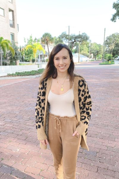 barefoot dreams tan leopard cardigan with bodysuit and camel joggers