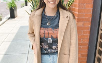 j crew camel sophie blazer with anine bing tee and gucci necklace
