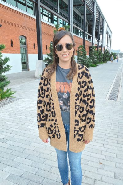 barefoot dreams camel leopard cardigan with anine bing vintage tee