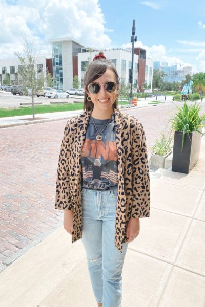jcrew leopard sophie blazer with anine bing tee and gucci necklace