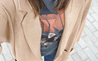 j crew camel ella coatigan with anine bing vintage tee and snakeskin boots