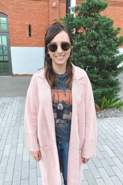 j crew pink ella coatigan with anine bing vintage tee and rayban icons