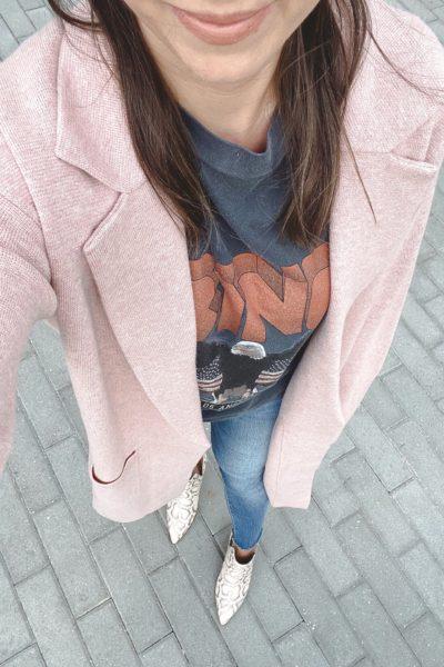 j crew pink ella coatigan with anine bing vintage tee and snakeskin booties