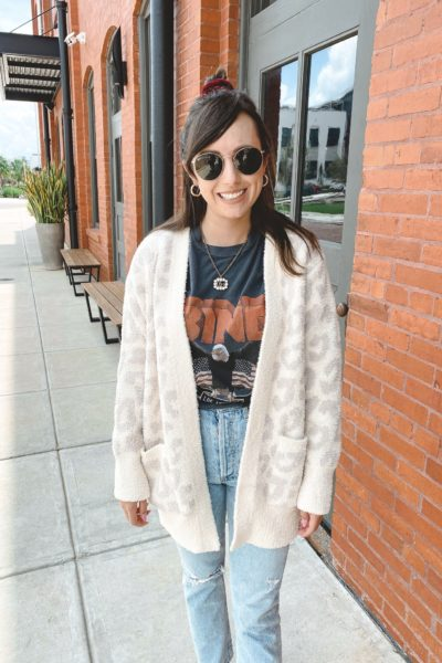barefoot dreams cream leopard cardigan with anine bing vintage tee and gucci necklace