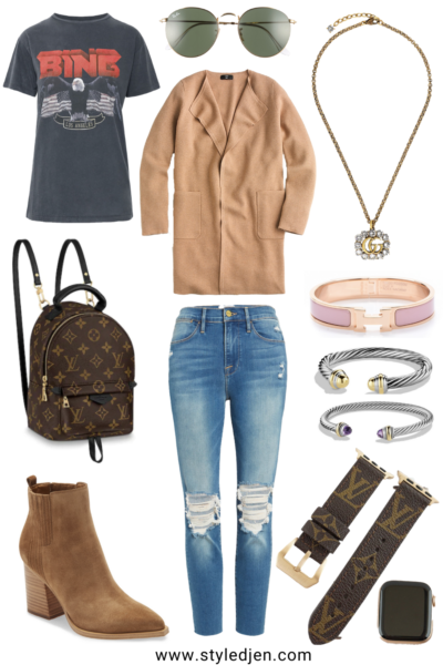 J Crew Juliette camel Coatigan with anine bing vintage tee and marc fisher oshay boots