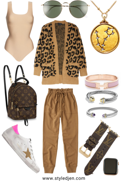 barefoot dreams camel leopard cardigan with abercrombie camel joggers and golden goose sneakers