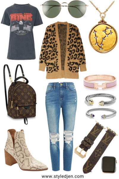 barefoot dreams camel leopard cardigan with anine bing vintage tee and frame ripped jeans
